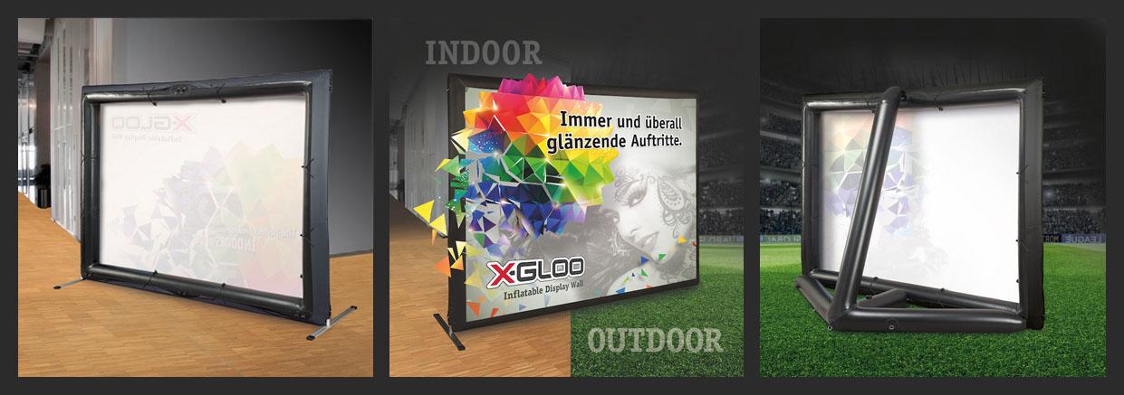 X-GLOO Display Wall. Das neue Produkt von X-GLOO. Indoor und Outdoor verwendbar.